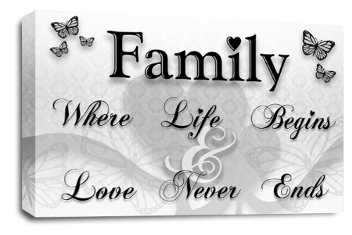 Family Quote Wall Art Picture White Black Grey Love Print